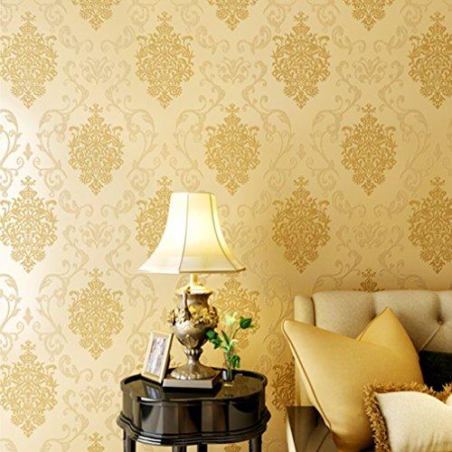 Bon Enjoy® 53cm*10M Vliestapete Vlies Tapeten Wand Tapete Barock Rolle Wandtapete Wand Dekoration Gelb