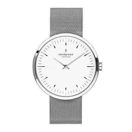 Nordgreen Infinity Skandinavische Klassische Uhr Unisex in Silber Analog Quarzwerk 40mm (L)...
