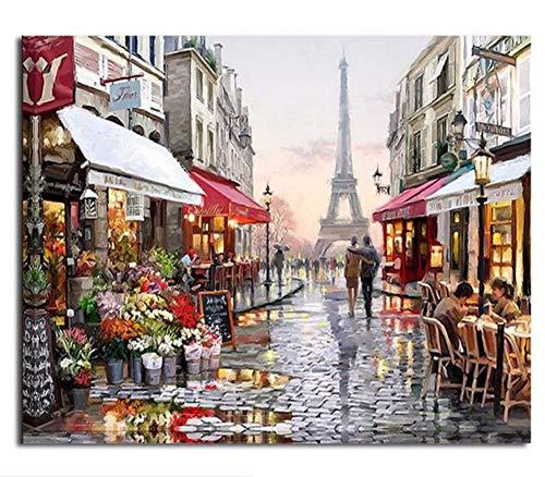 WAZHCY Erwachsene Farbe durch Zahlen-Ausrüstungs-Wand-Dekor-romantische Straßen-Ansicht von Paris-DIY-with Frame