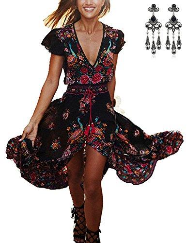 Modetrend Femmes Robe Été Bohême à Manche Courte Rétro Imprimé Floral Col V Profond Maxi Robe de Plage en Vacances Multicolore