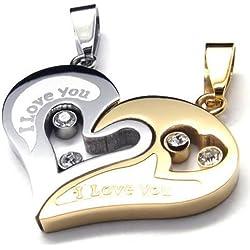 KONOV Joyería de dos pieza Collar Amistad, Acero inoxidable, oro y plata