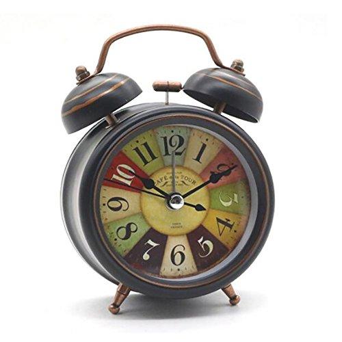 Retro Analoge Wecker mit Nachtlicht, Guizen Doppelglockenwecker Quarzwecker mit lautem Alarm, Kein Ticken, Geräuschlos - Tischuhren Nostalgie Antik Vintage Metall Design für Schlaf Wohnzimmer Büro, 3 Zoll Taupe