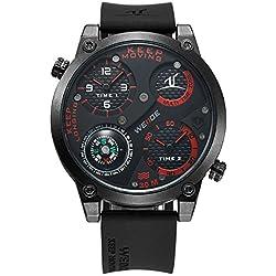 Alienwork DualTime Quartz Watch Multi Time Zones Wristwatch XXL Oversized Polyurethane black black OS.UV1505-4