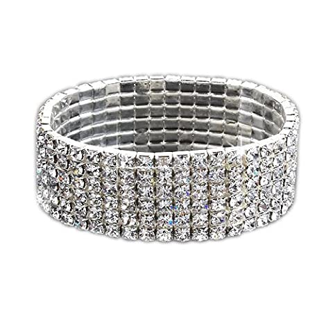 SODIAL(R) Fashion Hochzeit Braut Strass 6 Reihen Stretch Elastic Bangle Armband