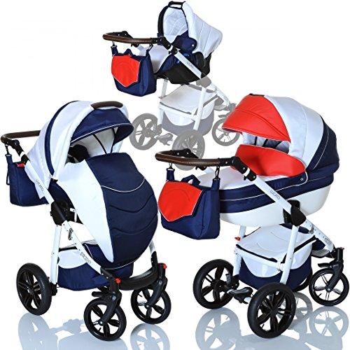 LCP Kids 3in1 Kombi Kinderwagen Lucato Luftreifen Komfort mit Pannenfrei Garantie, Farbe:France