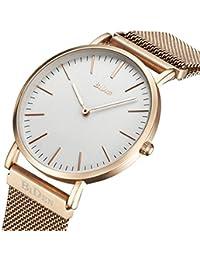 Watch Mens Women Watch Luxury Fashion Rose Gold Super Thin Case Waterproof Analog Quartz Magnetic Apple Watch...