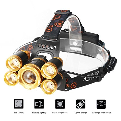 LED Scheinwerfer,TKSTAR Super Bright Headlamp Einstellbare Scheinwerfer 5 CREE LED 8000 Lumen Wiederaufladbare LED Kopflampe Wasserdichte Stirnlampe für Outdoor Wandern Camping Jagd Radfahren Laufen