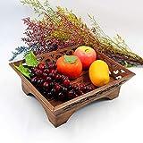ZXL Artisanat en Bois Assiette de Fruits Vintage Teck Fait Main Sculpture sur Bois...