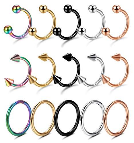 Yadoca 15 Stücke Edelstahl Piercing 1.2mm Lippen Nase Brust Helix Septum Ring Tragus Ohr Piercing Intim Scharnier Clicker Hufeisen Circular Barbell Ohrpiering 8mm 10mm