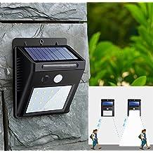 Sensor de movimiento solar 20 LED luz solar, alta potencia 2835 SMD LED, alta potencia 400 lm, con función de brillo ajustable.