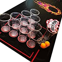 Lifestyle 2.0 Kit de Beer Pong Deluxe - Tapete de 180 x 60 cm, Impermeable y a Prueba de Roturas - Vasos Grandes - 4 Pelotas de Beer Pong - Juego de Beber NUEVO A ESTRENAR!