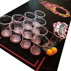 Idea Regalo - Lifestyle 2.0 NUOVO Kit per Beer Pong Deluxe – Tappetino Impermeabile e Antistrappo 180x60cm– Bicchieri Grandi - 4 Palline da Beer Pong – Drinking Game Americano - Nuovo Gioco Alcolico di Gruppo