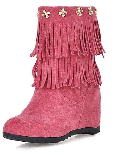 ShangYi Mode Frauen Schuhe Damen Stiefel Frühjahr / Herbst / Winter Keile / Fashion Stiefel Kunstleder Outdoor / Casual Keilabsatz Niet / TasselBlack Gelb