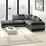 Anaelle Panana Canapé d'angle Sofa Moderne en Tissu en Polyester + PU Cuir 5 Places...