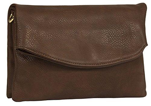Big Handbag Shop Damen-Handtasche, trendige Kunstleder-Tasche mit Klappe, weiches Material, Clutch, - Dark Tan - Plain - Größe: Einheitsgröße