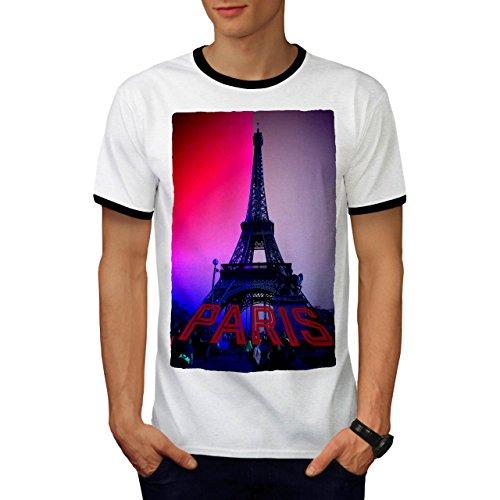 Farbig Eiffel Turm Frankreich Herren M Ringer T-shirt | (Kostüm Männlich Frankreich)