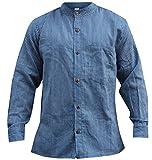 shopoholic Mode Hommes RAYURE hippie grand-père chemise - Bleu marine, Medium