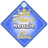Panneau personnalisé pour voiture Inscription en anglais «Prince Kenzie On Board» Motif couronne