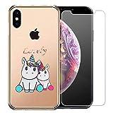 Laixin Coque pour iPhone XR Étui Transparent Silicone Anti Choc Mince Case Housse de Protection + Free [Protecteur d'écran en Verre trempé], Amoureux de la Licorne
