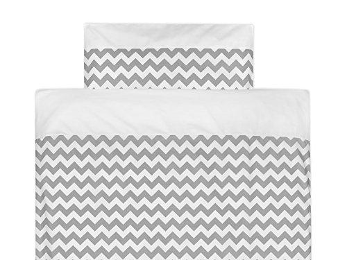 KraftKids Bettwäsche-Set Uniweiss Chevron grau aus Kopfkissen 80 x 80 cm und Bettdecke 140 x 200 cm, Bettbezug aus Baumwolle, handgearbeitete Bettwäsche gefertigt in der EU - Chevron Baby-bettwäsche-sets