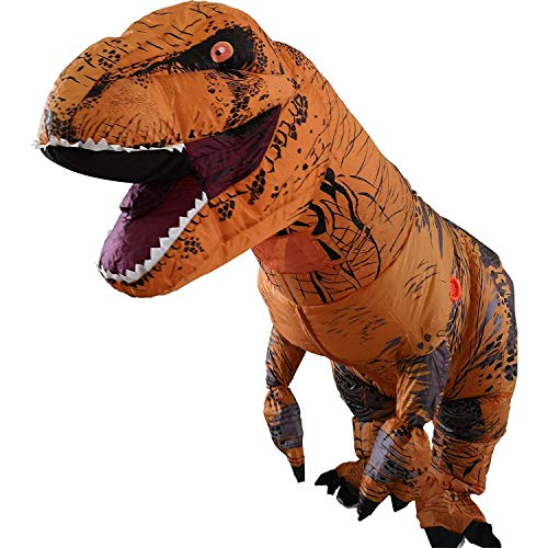 A Inflatable Dinosaur T-Rex Costume Party Fancy Dress Cosplay Outfit aufblasbare Dinosaurier Anzüge und Kostüme Festival Party Park für Erwachsene größe (Braun) (Aufblasbare T Rex Kostüm)