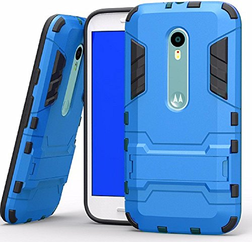 Heartly Graphic Designed Stand Hard Dual Rugged Armor Hybrid Bumper Back Case Cover For Motorola Moto X Play - Power Blue