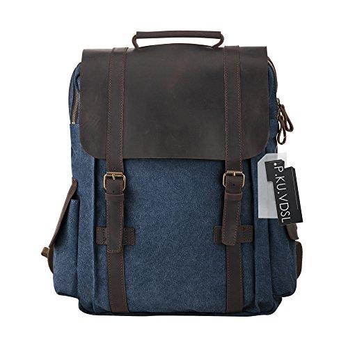 Imagen de  vintage de lona zainotelavintage p.ku.vdsl®  tipo casual y cuero bolso casual para viajes bolsa de escuela unisex adecuada para 15' cuaderno c azul profundo  alternativa