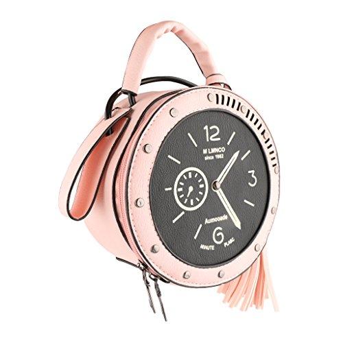 Gazechimp Retro Clock Uhr Kunstleder Süß Handtaschen Handtaschen Schultertasche - Rosa