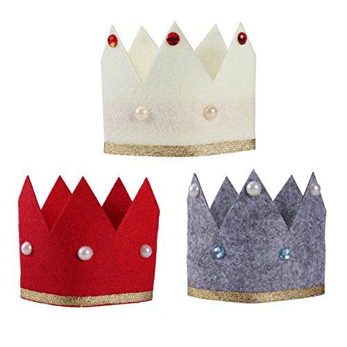 n Geburtstag Crown 3 stücke Glitter Heißprägen Geburtstag Hüte vlies Cap DIY Dekoration Kinder Party Geschenk Liefert (Diy Prinzessin Crown)
