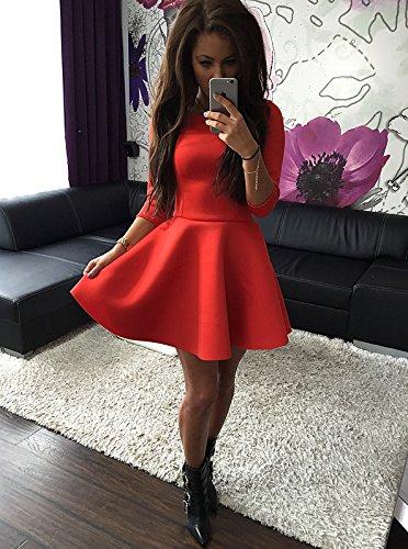 bb18d5d192a2 Vestiti Donna Eleganti Da Cerimonia Manica 3 4 Girocollo Corti A Pieghe  Abito Puro Colore Camicia ...