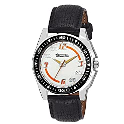 Roman Star Mens 1133 Silver Coloured With Black Leather Strap Analog Quartz Watch