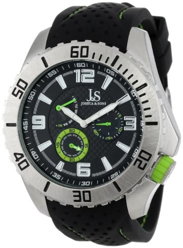 Joshua & Sons Men's JS53GN Multi-Function Silver-Tone Watch with Black-and-Green Silicone Band