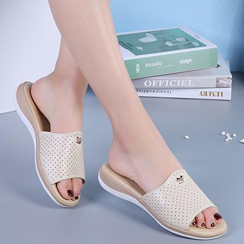 OME&QIUMEI Schuhe Ist Cool Hausschuhe Frauen Sommer Sandalen Rutschfeste Und Flachem Boden Frauen Badeschuhe 39 Beige