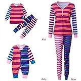 Weihnachten Familie Pyjamas Outfit Schlafanzug Nachtwäsche Damen Herren Baby Säugling Family Kleidung Zuhause Matching Set Xmas, Streifen Spielanzug Overall Familien Kleidung(Mom,Medium)