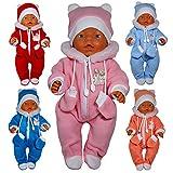Unbekannt Puppenkleidung 3-TLG.Set Schneeanzug für Puppe wie z.B. Baby Born bis 43 cm (ohne Puppe) (Aprico)