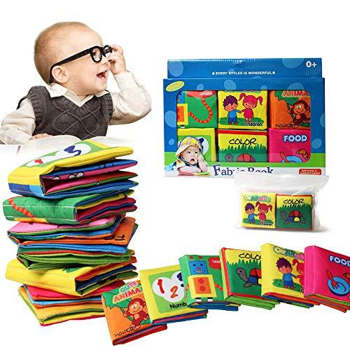 Libro de Cognición del bebé 6 PCS,Wholethings Desarrollo de inteligencia Animal Cloth Libro Aprendizaje...
