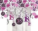Feste Feiern Geburtstagsdeko Zum 18. Geburtstag I 13 Teile All-In-One Set Spiralen Deckenhänger Konfetti Pink Schwarz Violett Party Deko Happy Birthday