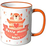 Wandkings Tasse, Schriftzug 'Beste Mama der Welt' mit fröhlichem Kätzchen - ORANGE