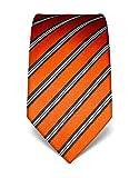 Vincenzo Boretti Herren Krawatte reine Seide gestreift edel Männer-Design gebunden zum Hemd mit Anzug für Business Hochzeit 8 cm schmal/breit orange