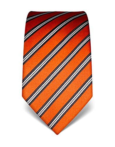 Vincenzo Boretti Herren Krawatte reine Seide gestreift edel Männer-Design zum Hemd mit Anzug für Business Hochzeit 8 cm schmal/breit orange