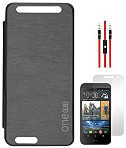 DMG Protective NBR Flip Cover for HTC One E8 (Black) + AUX Cable + Screen Protector