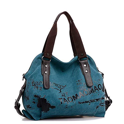 Tan Leder Hobo (Womens Messenger Bag Canvas Multi-Color Hobos Umhängetasche Tote Handtasche große Kapazität Reisetasche Schule Strand Shopping Handtasche Crossbody Tasche Blue)