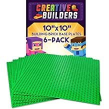 "Creative Builders - Set of 6 Green Base Plates | Large 10"" X 10"" 
