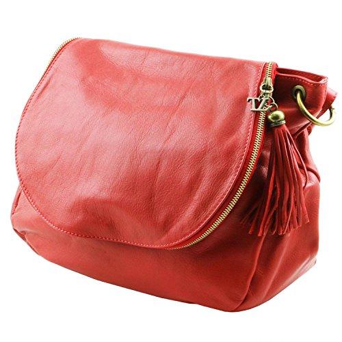 Tuscany Leather - TL Bag - Borsa morbida a tracolla con nappa Rosso - TL141110/4 Rosso Lipstick