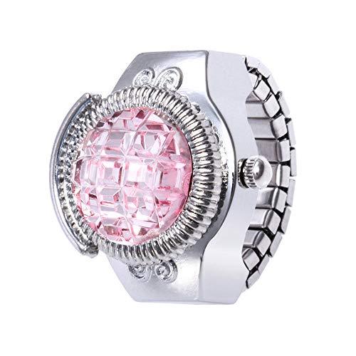 Gaddrt Uhren Ringuhr Mode Frauen Schmuck Runde Fingerring Uhr Stein Stahl Elastische Dame Mädchen Geschenk (Rosa)