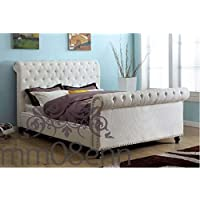 11674a567b21c Luxury Crushed Velvet Upholstered Sleigh Style Studs Bed frame Choice of  Diamante or Fabric Buttons (
