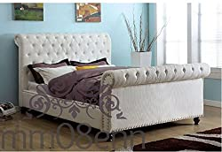 Sleigh Style Studs Upholstered Crushed Velvet Bed Frame in Silver,Black,Cream,Champagne,Truffle (Champagne, 5ft King Size)
