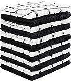 Utopia Towels - 12 Torchons de Cuisine - Serviettes de Cuisine 100% Coton - Lavable en Machine (38 x 64 cm) (Noir et Blanc)...