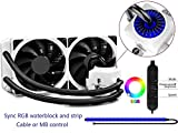 Deepcool Captain 240 EX RGB White Sistema di Raffreddamento Radiatore da 240mm Dissipatore a Liquido RGB Sync 12V 4-Pin  Compatibile Intel 115X/2066 e AMD AM4 Pompa RGB e Strip LED RGB