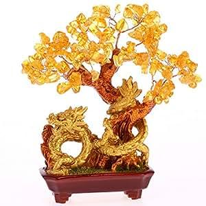 ARBRE DRAGON en CITRINE - Feng Shui - Réussite, Richesse et Prospérité